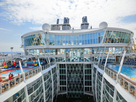 allure: Barselona, Spaine - September 06, 2015: The cruise ship Allure of the Seas, The Royal Caribbean International. The interior view of the upper deck of ship
