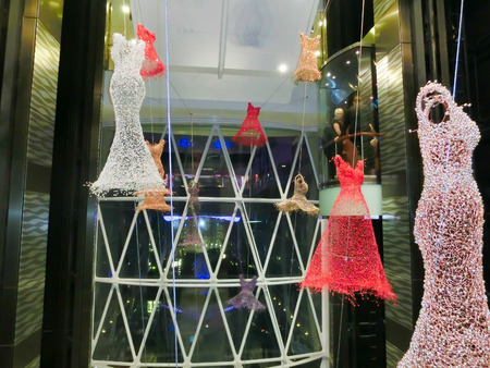 allure: Barselona, Spaine - September 07, 2015: The cruise ship Allure of the Seas, The Royal Caribbean International. The the interior of the elevator inside the ship Editorial