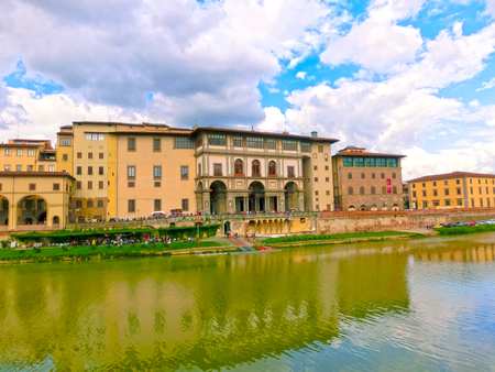 Arno river and old building in Florence, Italy Stock Photo