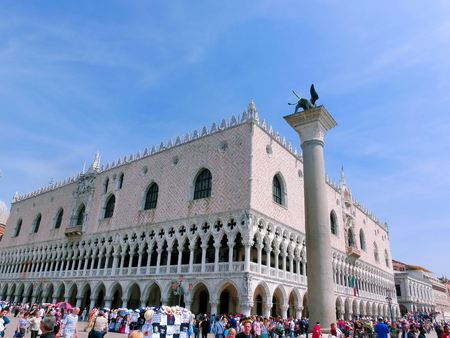 winged lion: Venice, Italy - May 10, 2014: St Marks Square in Venice in Italy
