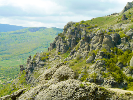 Crimean mountains. Mountains in Crimea at the summer day. Stock Photo