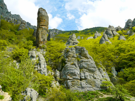 Crimean mountains. Mountains in Crimea at the sunny summer day. Stock Photo