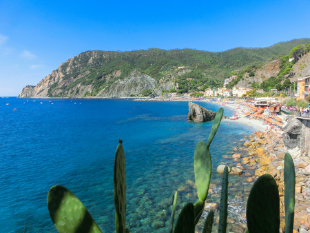 The coastline of Monterosso in Italy. Monterosso is one of five famous coastline villages in the Cinque Terre National Park.