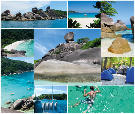 similan: The collage from images of the bay of Similan Islands