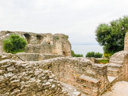 leavings: Ruins of Catullus Caves, roman villa in Sirmione, Garda Lake, Italy