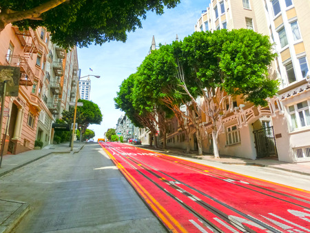 cable car: A typical San Francisco street with cable car tracks, California Stock Photo