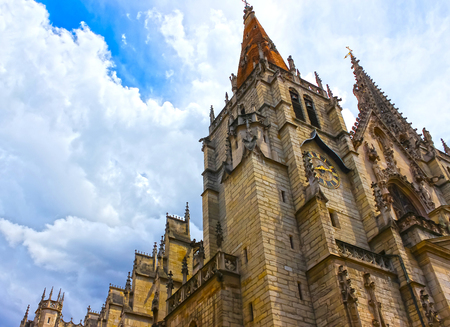 church steeple: Tower of Saint John the Baptist Cathedral in Lyon city, France