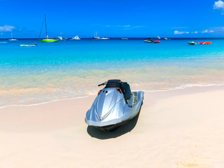 The one water motorcycle at the Caribbean beach of sea