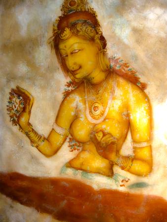 sigiriya: Ancient fresco in the cave temple, Sigiriya, Sri Lanka, Asia - UNESCO World Heritage Site Stock Photo