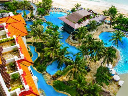 hotel indonesia: Bali, Indonesia - December 30,2008: The pools and beach of ocean taken in Nusa Dua Grand Nikko Bali. Hotel is located in Nusa Dua, Bali.