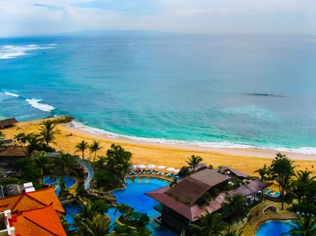 hotel indonesia: Bali, Indonesia - December 30, 2008: The beach of ocean taken in Nusa Dua Grand Nikko Bali. Hotel is located in Nusa Dua, Bali. Editorial