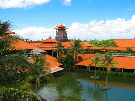 nusa: Bali, Indonesia - December 25, 2008: The Lagoon and park in Ayodya Resort Bali at Nusa Dua, Bali, Indonesia