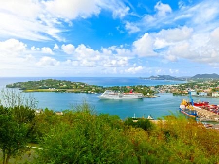 fascination: Saint Lucia, Saint Lucia - May 12, 2016: The Carnival Cruise Ship Fascination at dock. She is one of 8 sister ships and received a million dollar refurbishment in 2006 Editorial