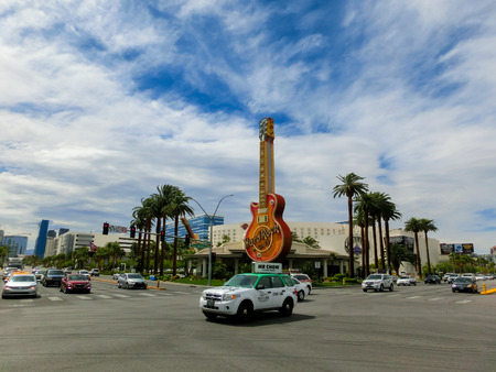 hard rock cafe: Las Vegas, United States of America - May 06, 2016: Gitar at entrance to Hard Rock Cafe on Paradise Rd. in Las Vegas. Its the original Hard Rock Cafe Las Vegas, opened in 1990.