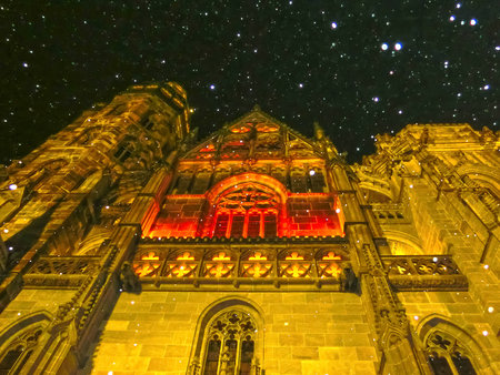 elisabeth: Facade of the St. Elisabeth Cathedral in Kosice, Slovakia at snowy night