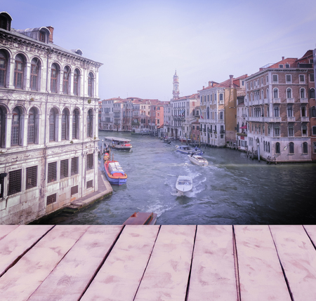 Collage of images of Venice in pink and lilac shades and retro stile. Venice, Italy, Europe