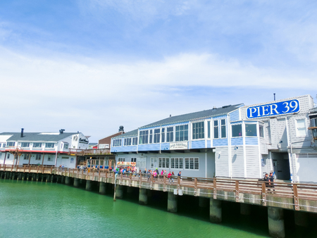 San Francisco, California, United States of America - May 04, 2016:The Pier 39 fishermans wharf at San Francisco. Pier 39 is a famous tourist spot in San Francisco area and usually crowded in the weekend. Editorial
