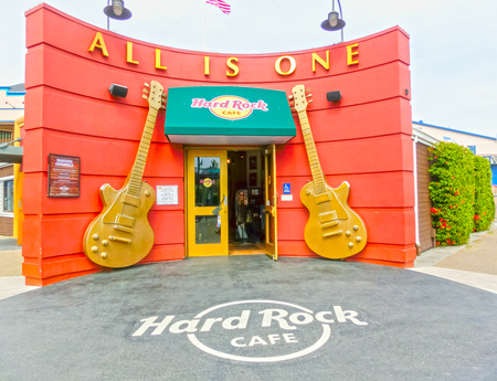 hard rock cafe: San Francisco, California, United States of America - May 04, 2016: The hard Rock Cafe at Pier 39 fishermans wharf at San Francisco on Dec 13, 2013. Pier 39 is a famous tourist spot in San Francisco area and usually crowded in the weekend.