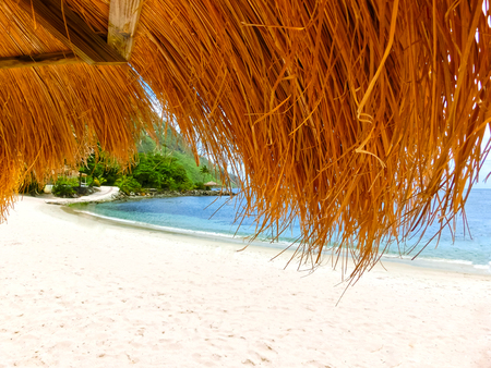 The Caribbean tropical beach. View through the thatched roof
