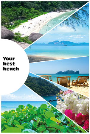 Collage of summer beach images - nature and travel locations