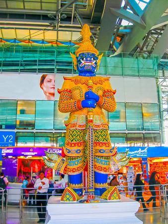 Bangkok, Thailand - January, 31, 2010: Suvarnabhumi Airport is the worlds third largest single-building airport terminal in Bangkok, Thailand at January, 31, 2010. Designed by Helmut Jahn. Редакционное