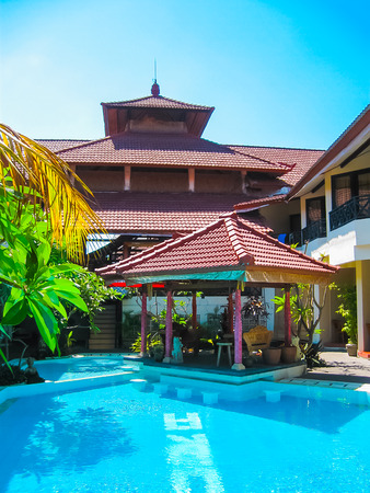 kuta: Kuta, Bali, Indonesia - April 09, 2012: View of swimming pool at The Flora Kuta Bali Editorial