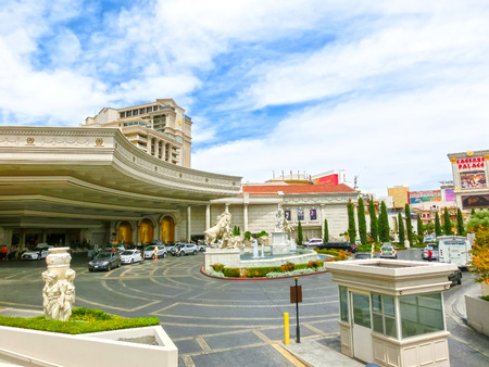 Las Vegas, United States of America - May 07, 2016: The main entrance in Caesars Palace - a luxury hotel and casino at Las Vegas, United States of America on May 07, 2016