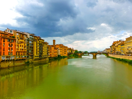 river arno: Panoramic view of river Arno. Florence. Tuscany at Italy