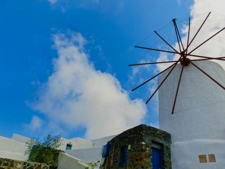 fira: View of Oia village at Santorini island in Greece Stock Photo