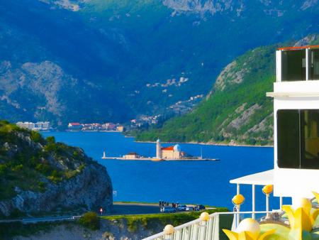 kotor: The small island at Boka Kotor bay in Montenegro Stock Photo