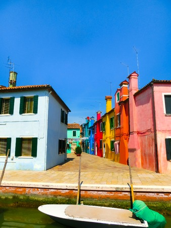 Burano: Burano, Venice, Italy - Colorful old houses Stock Photo