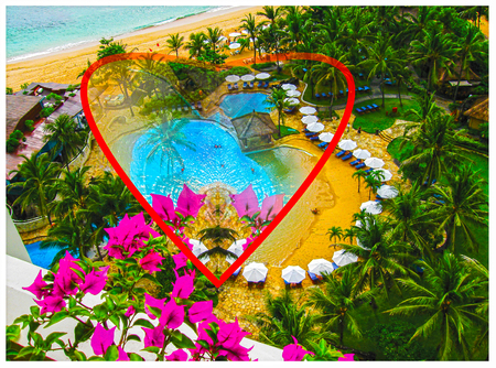 The heart and Bali background Stock Photo