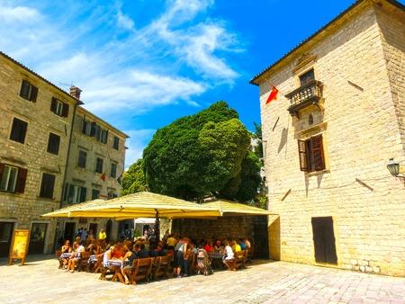 Kotor, Montenegro - May 07, 2014: St. Lukes square at Kotor