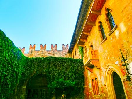 Verona, Italy - September 22, 2014: The famous balcony of Juliet