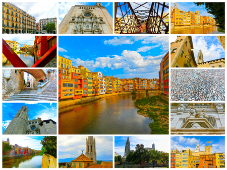 jewish houses: Colorful yellow and orange houses in Girona, Catalonia, Spain. Stock Photo