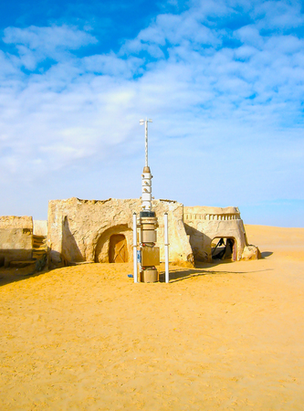 Sahara, Tunisia - January 03, 2008: Abandoned sets for the shooting of the movie Star Wars Editorial