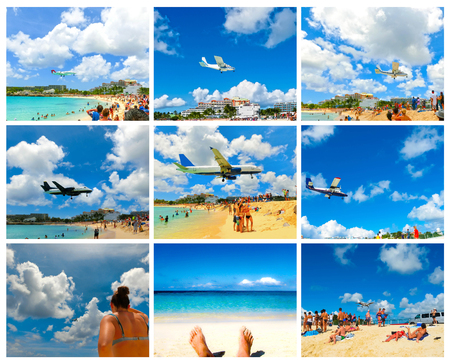 The collage from images of Maho Bay beach