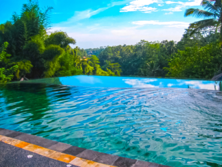 Bali, Indonesia - April 11, 2012: View of swimming pool at Tanah Merah Art Resort