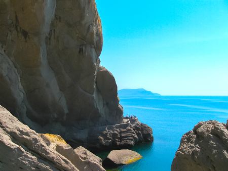 Crimean mountain and sea at the sunny summer day.