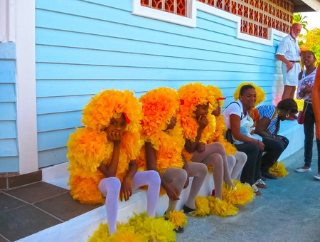 Boca Chica, Dominican Republic - February 12, 2013: Resident people celebrate Caribbean Carnival