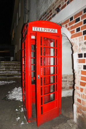 Traditional old style UK red phone box