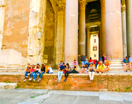 obelisk stone: Rome, Italy - September 10, 2015: The Panteon - Temple of all Gods in Rome