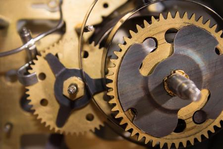 Macro shot of clockwork gears inside the watch