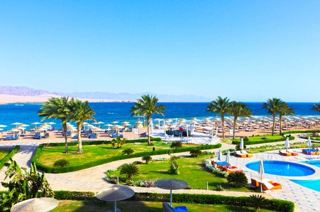 Sheikh: Sharm El Sheikh, Egypt - April 8, 2017: The view of luxury hotel Barcelo Tiran Sharm 5 stars at day with blue sky