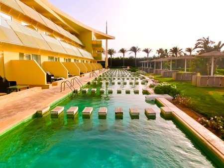 Sharm El Sheikh, Egypt - April 9, 2017: The view of luxury hotel Barcelo Tiran Sharm 5 stars at day with blue sky