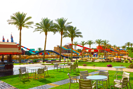 Sharm El Sheikh, Egypt - April 10, 2017: The view of luxury hotel AQUA BLU Sharm 5 stars at day with blue sky