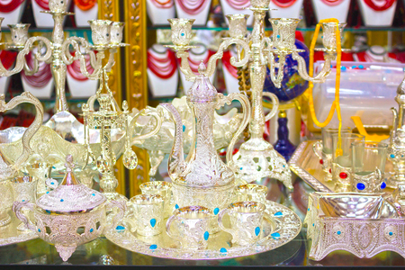 Traditional handmade tea and coffee sets or teapots for sale at the Egyptian Bazaar
