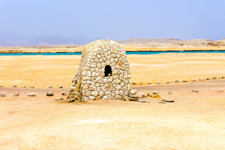 The mud brick house in Ras Muhammad National Park at Egypt