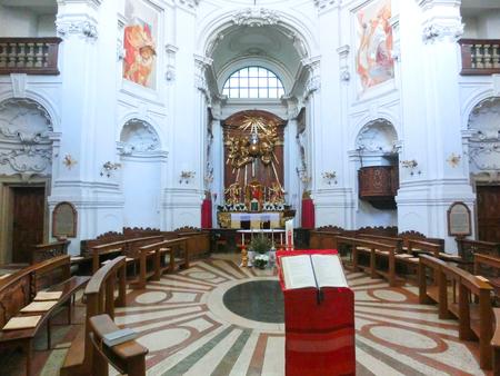 Salzburg, Austria - May 01, 2017: Inside the Trinity-Church in Salzburg, Austria. The church was built between 1694 and 1702.