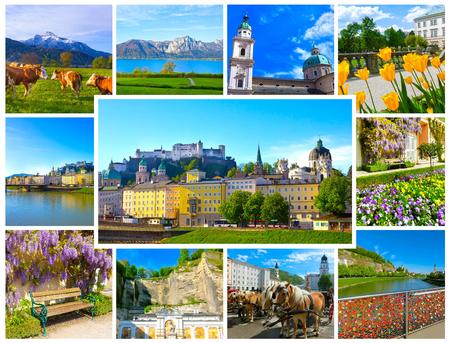 amadeus mozart: The collage of view of Salzburg skyline with river Salzach, Salzburger Land, Austria